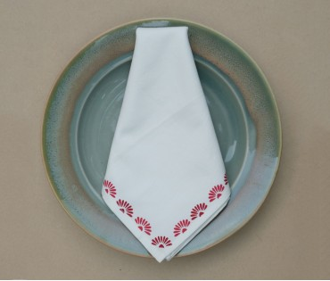 Cream with Maroon Floral Block Printed Cotton Table Napkin (Set of 4)