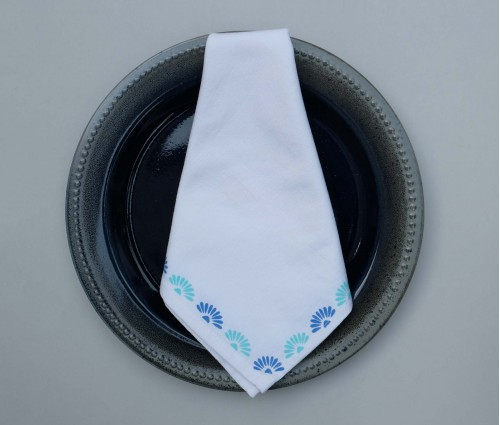 White with Blue & Aqua Floral Block Printed Cotton Table Napkin (Set of 4)