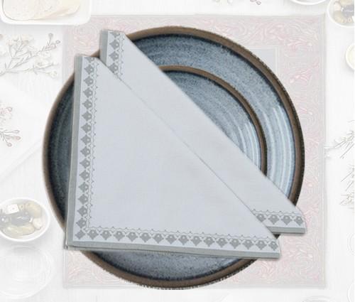 White & Light Grey Emperor Printed Cotton Table Napkin (Set of 4)