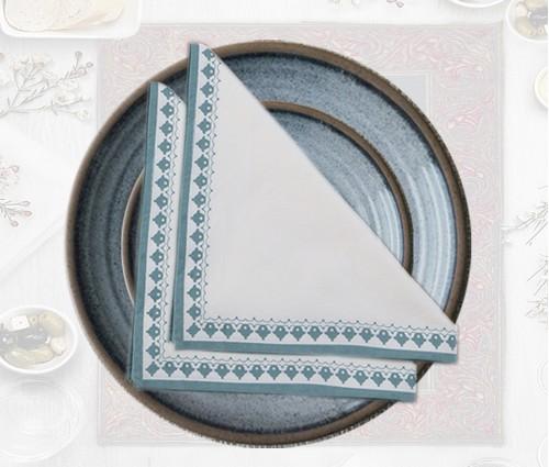 White & medium blue Emperor Printed Cotton Table Napkin (Set of 4)