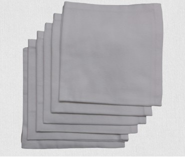 Light Grey Solid Cotton Table Napkin (set Of 6)