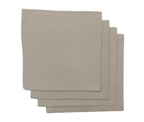 Beige Solid Cotton Table Napkin (set of 4)