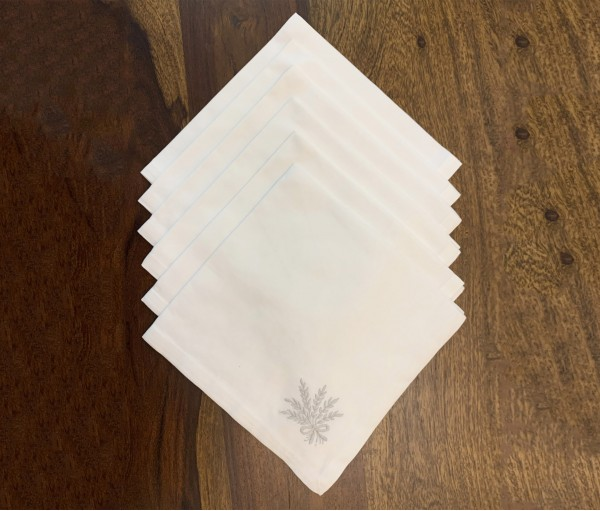 Set of 4 White with Grey Embroidered Cotton Table Napkin