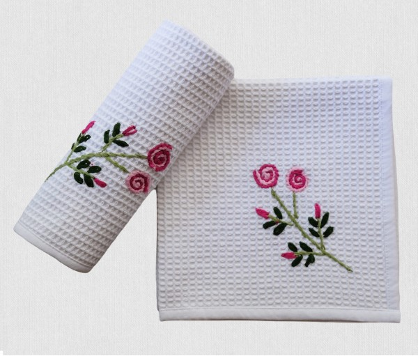 WHITE FLORAL HAND EMBROIDERED COTTON TABLE NAPKIN (Set of 2)