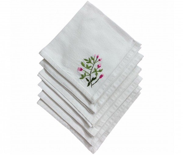 White Hand embroidered Cotton Table Napkin (Set of 6)