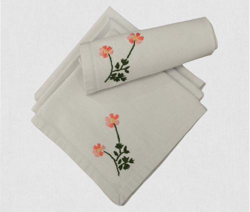 Light Grey Hand Embroidered Cotton Table Napkin (set Of 6)