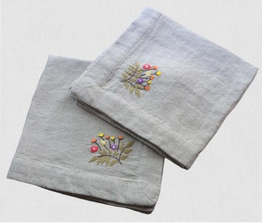 Grey & Multicolor Hand Embroidered Linen Table Napkin (set Of 2)