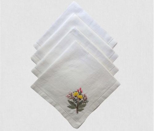 Cream & Multicolor Hand Embroidered Linen Table Napkin (set Of 4)