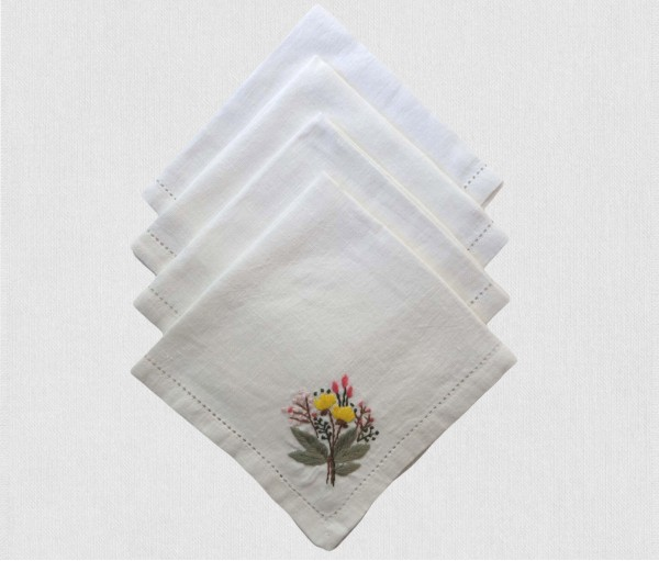CREAM & MULTICOLOR HAND EMBROIDERED LINEN TABLE NAPKIN (Set of 4)