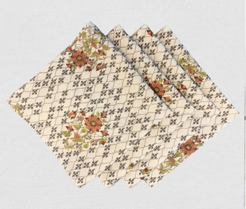 Multicolor Printed Cotton Flax Table Napkin (set Of 4)