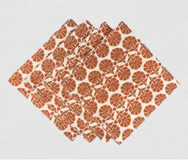 Red Block Printed Cotton Flax Table Napkin (set Of 4)