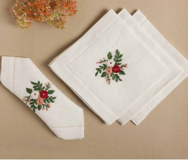 Cream with Multicolor Hand Embroidered Pure Linen Table Napkin (Set of 4)