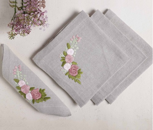 Grey Floral Hand Embroidered Pure Linen Table Napkin (Set of 4)