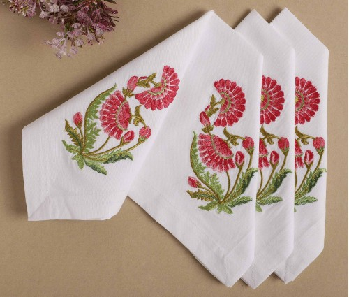 Cream with Multicolor Zehrat Embroidered Cotton Table Napkin (Set of 4)