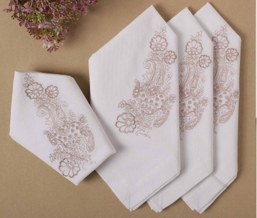 Cream with Beige Paisley Embroidered Cotton Table Napkin (Set of 4)