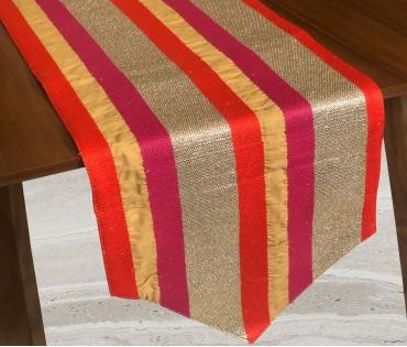 Embroidered Stripe Lurex Table Runner