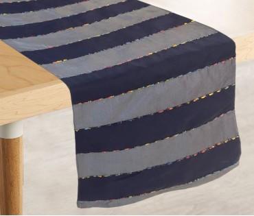 "Grey Navy Stripe Tafeta Table Runner (13""x84"")"
