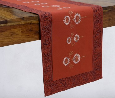 Gulnaaz Burnt Orange & Gold Hand Block Printed Cotton Table Runner
