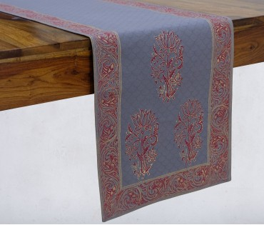 Gulnaaz Light Grey & Gold Hand Block Printed Cotton Table Runner