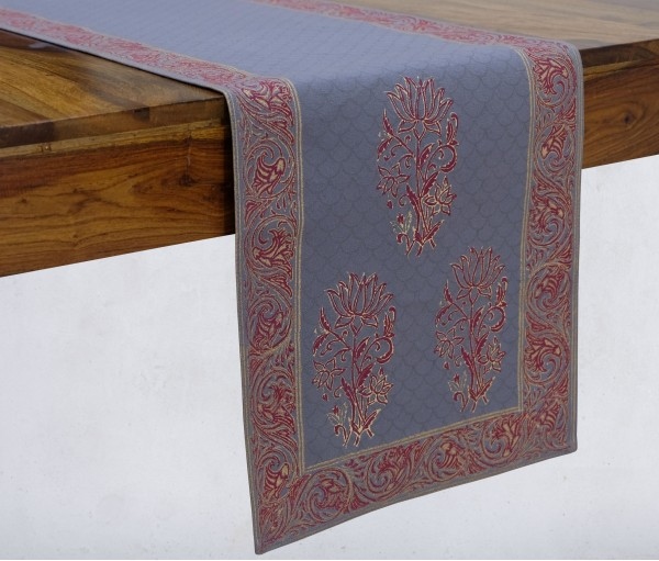 Gulnaaz Light Grey & Gold Hand Block Printed Cotton Table Runner
