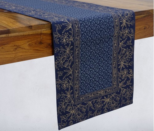 Gulnaaz Navy & Gold Hand Block Printed Cotton Table Runner
