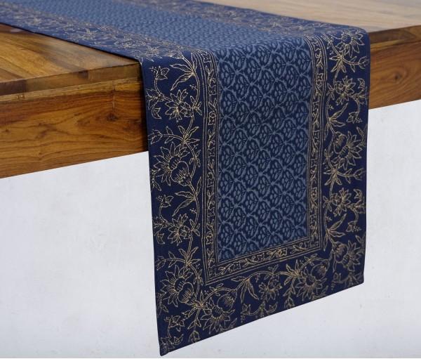 Gulnaaz Navy & Gold Hand Block Printed Cotton Table Runner