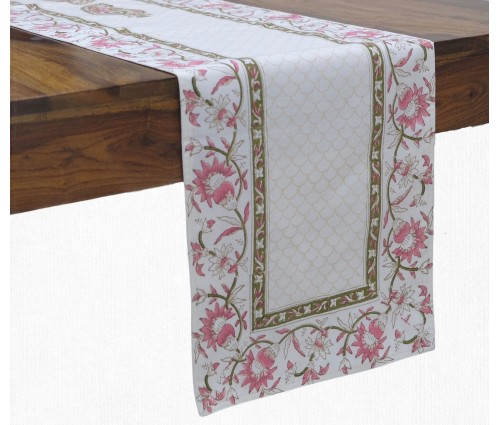 Gulnaaz Cream Hand Block Printed Cotton Table Runner