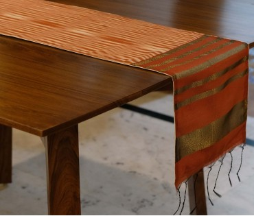 Brown Katki (ikat) Table Runner
