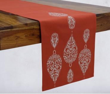 Dew Drop Burnt Orange Embroidered Cotton Table Runner