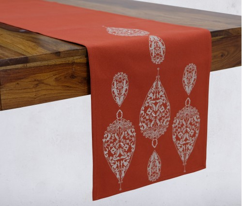 Dew Drop Burnt Orange Embroidered Cotton Table Runner