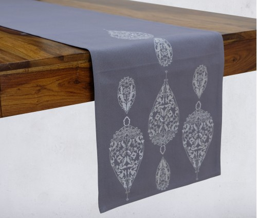 Dew Drop Light Grey Embroidered Cotton Table Runner