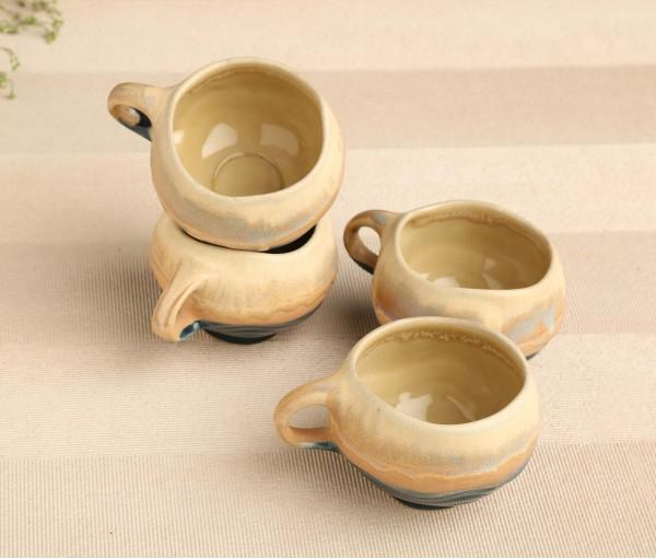 Set of 4 Cream & Blue Casting Ceramic Cup (160ml)