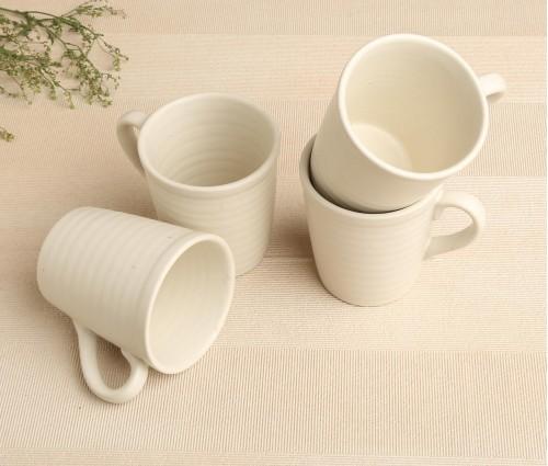 Set of 4 White Matte Ceramic Mug (250ml)