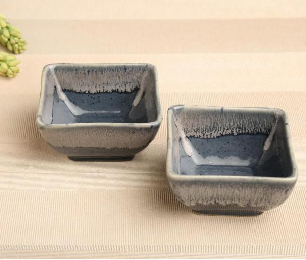 Set of 2 Denim Blue Ceramic Small Bowl (Dia- 4In, H- 2.25in)