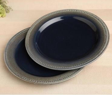 Set of 2 Denim Blue Ceramic Dinner Plate (Dia- 10.75in)