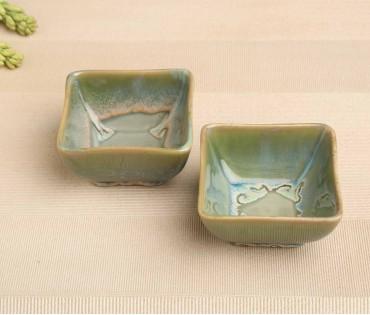 Set of 2 Green Ceramic Small Bowl (Dia- 4In, H- 2.25in)