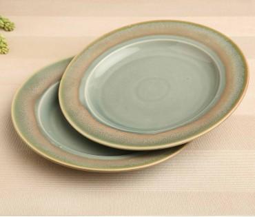 Set of 2 Green Ceramic Dinner Plate (Dia- 10.75in)
