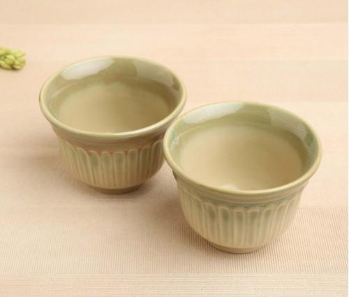Set of 2 SF Green Ceramic Snack Bowl (Dia-4.5in, H-3in)