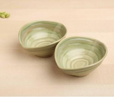 Set of 2 SF Green Oval Ceramic Snack Bowl (Dia-4.75in, H- 2.75in)