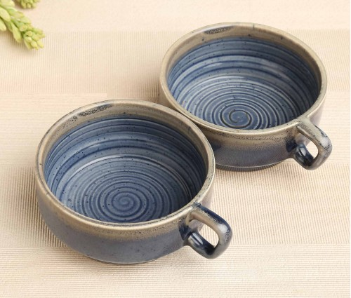 Set of 2 Denim Blue Ceramic Soup Bowl (Dia- 4.75in, H- 2in)