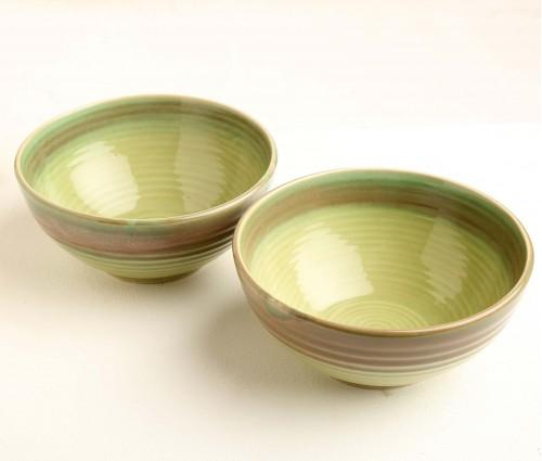Set of 2 Parrot Green Ceramic Serving Bowl (Dia- 7.5in, H- 3.25in)