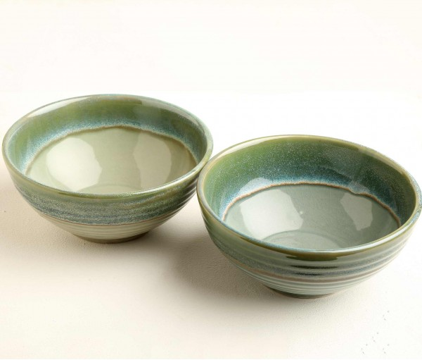 Set of 2 Sea Green Ceramic Serving Bowl (Dia- 7.5in, H- 3.25in)