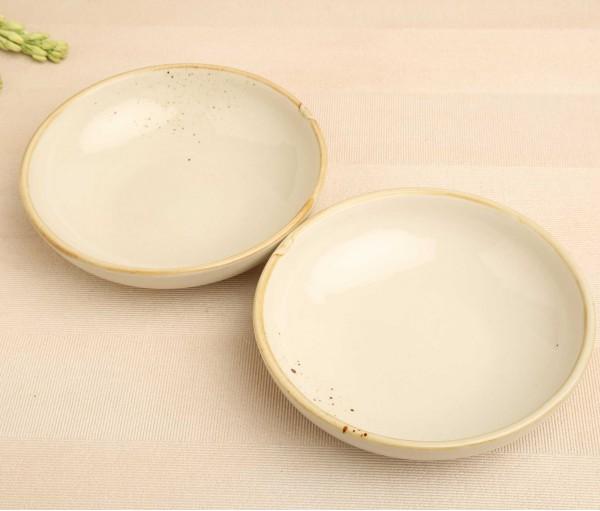 Set of 2 Steaky Spray White Ceramic Eating Bowl (Dia- 7.5in, H- 2in)