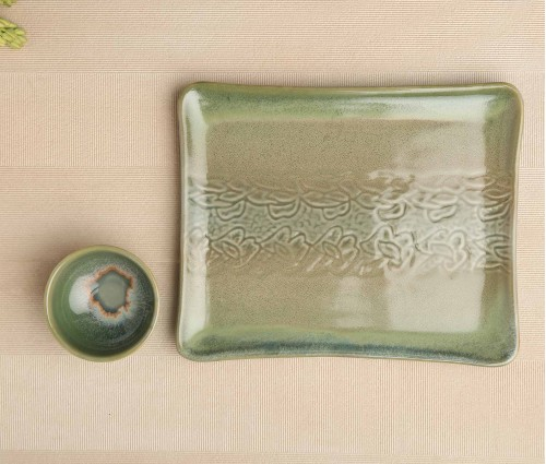 Sea Green Ceramic Platter Plate with Dip Bowl (8.25in x 10.25in)