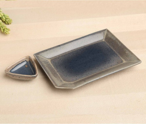Denim Blue Ablong Ceramic Platter Plate with Dip Bowl (6in x 8.5in)