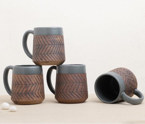 Set of 4 Matte Grey & Brown Mug (250ml)