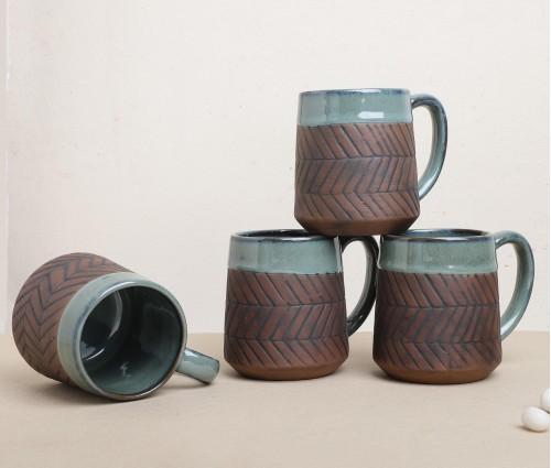 Set of 4 Turquoise Blue & Brown Mug (250ml)