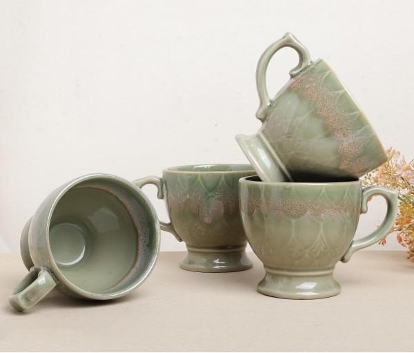 Set of 4 SF Green Ceramic Mug (250ml)