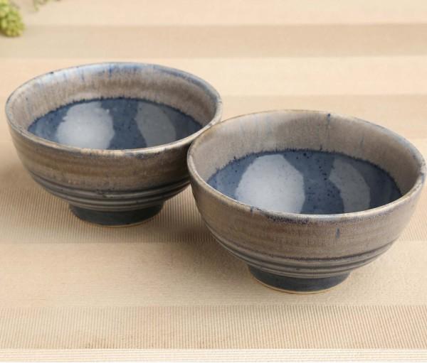 Set of 2 Denim Blue Ceramic Snack Bowl (Dia- 5.5in, H- 3in)