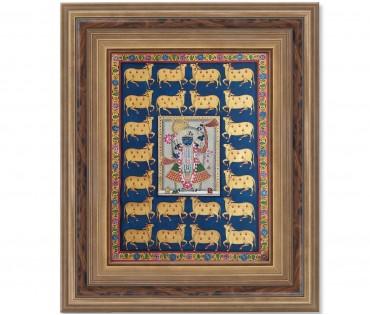 Pichwai Painting On Cloth | Shrinath & Cow 1 | 18x24 Inch